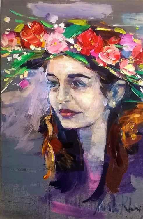Etude of girl in wild  flowers crown