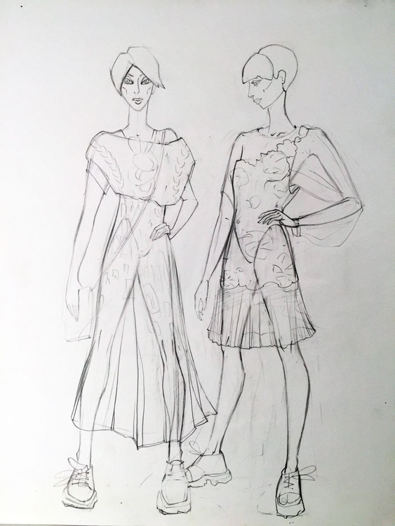Two figures in pencil - Image 0