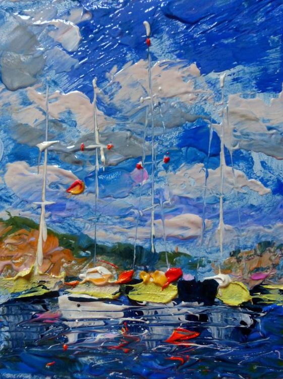 Yachts, original oil painting 15x20 cm - Image 0