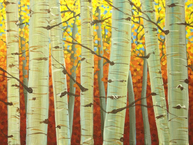 Original Painting of 'Birches Ablaze' by Kirstin Wood - Image 0
