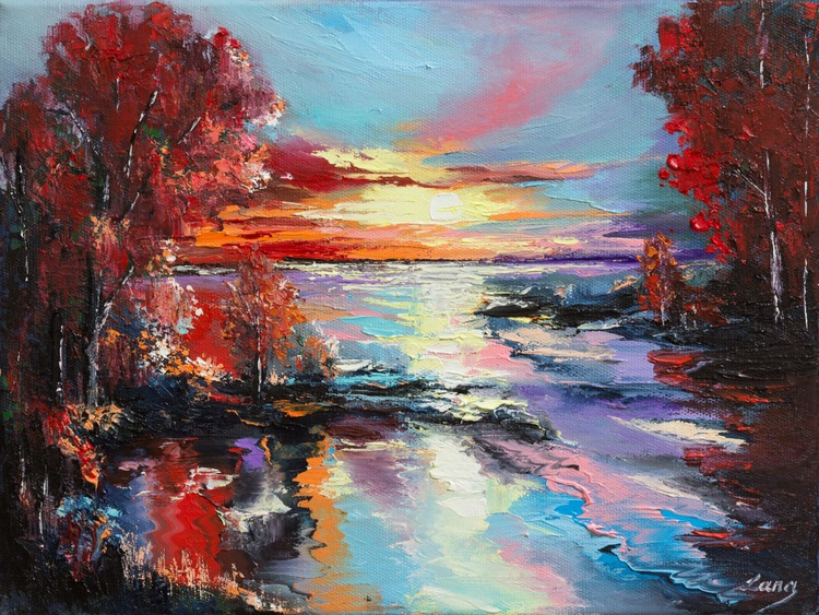 Sunset in autumn's reflection - Image 0