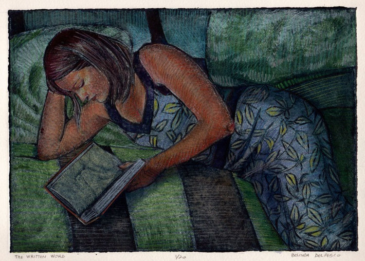 The Written Word - Framed Collagraph of Woman Reading - Image 0