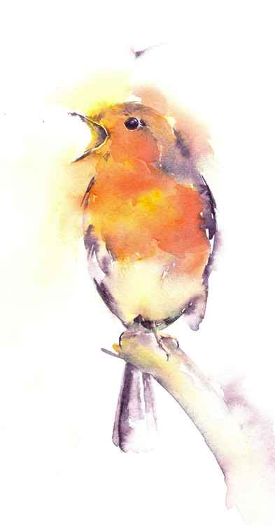 Singing Robin - Watercolour Painting -