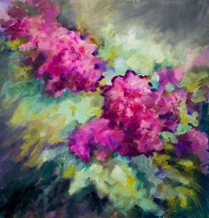 Flowers - large size - 98X98 cm - unstretched canvas -