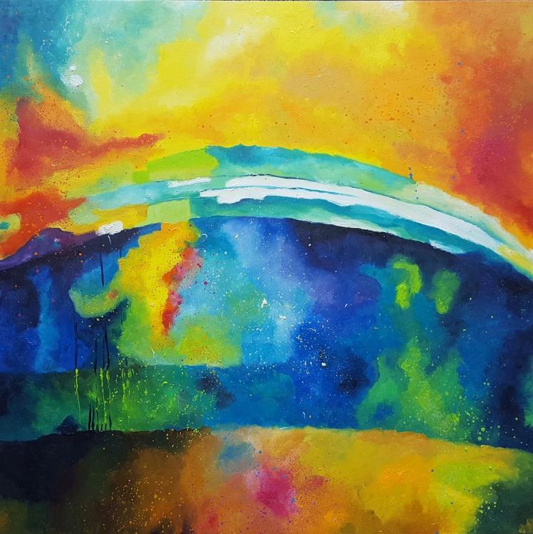 Hopeful future (100x100cm) Abdstract landscape in blue, yellow and orange - Image 0