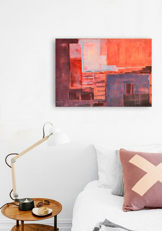 "Abstract painting ""Interior city 02"". Oil painting on cotton canvas. - Image 0"