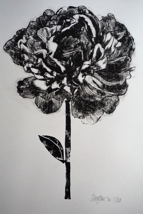 Original Peony Monochrome Artwork Print Limited Edition of 20 - Image 0