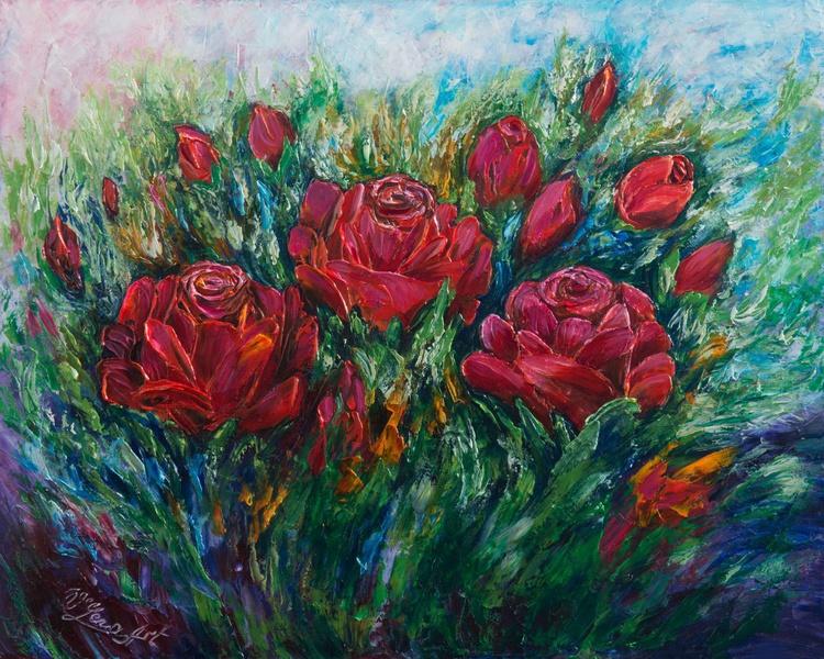 Red Roses (Palette Knife) - Image 0