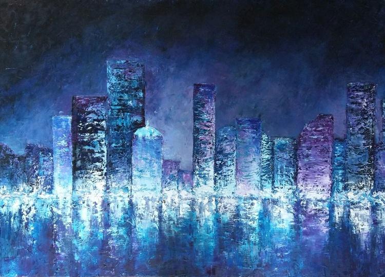 Blue City, 70x50 cm, original artwork, FREE SHIPPING - Image 0