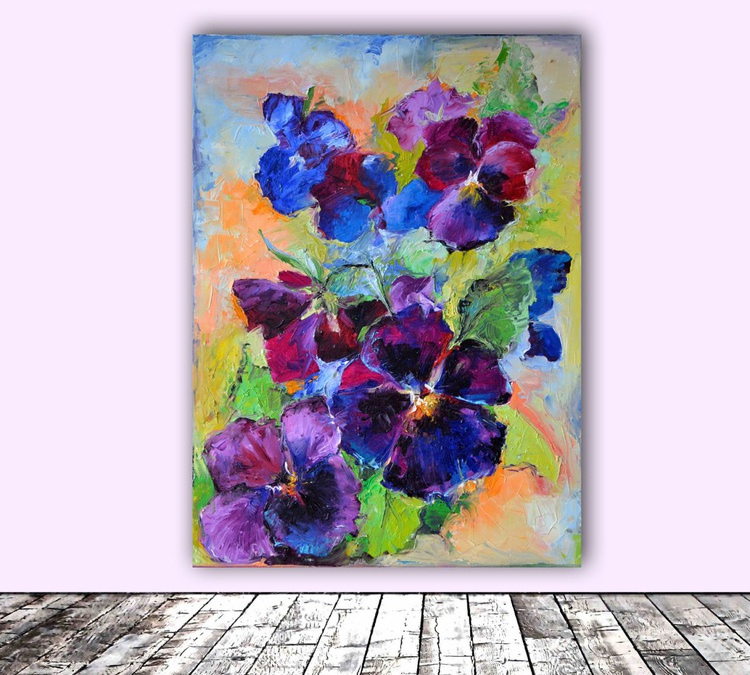 Pansy Flowers - Spring Flowers - FREE SHIPPING Modern Original Oil Painting, Ready to Hang - Image 0