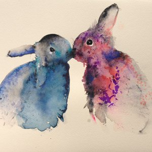 Bunnies in love by Krista Bros