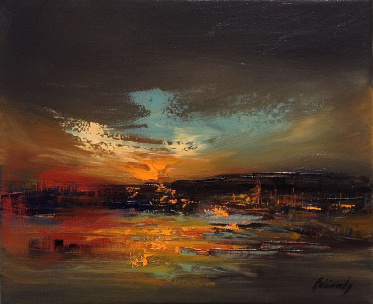 Evening Lights - 25 x 30 cm, abstract oil painting, night, harbour - Image 0