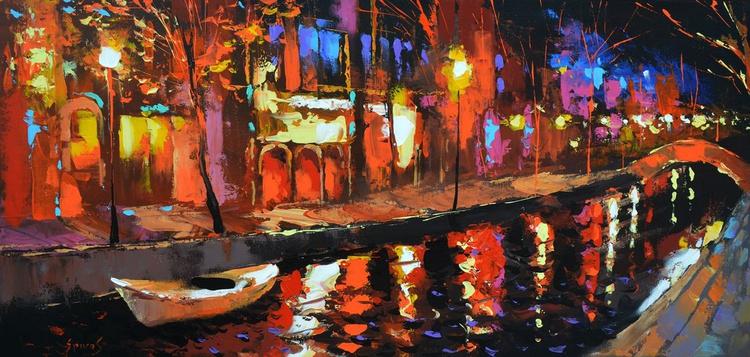 Night contemplation - Original Oil acr. palette knife Painting, Size: 95cmx45cm - Image 0