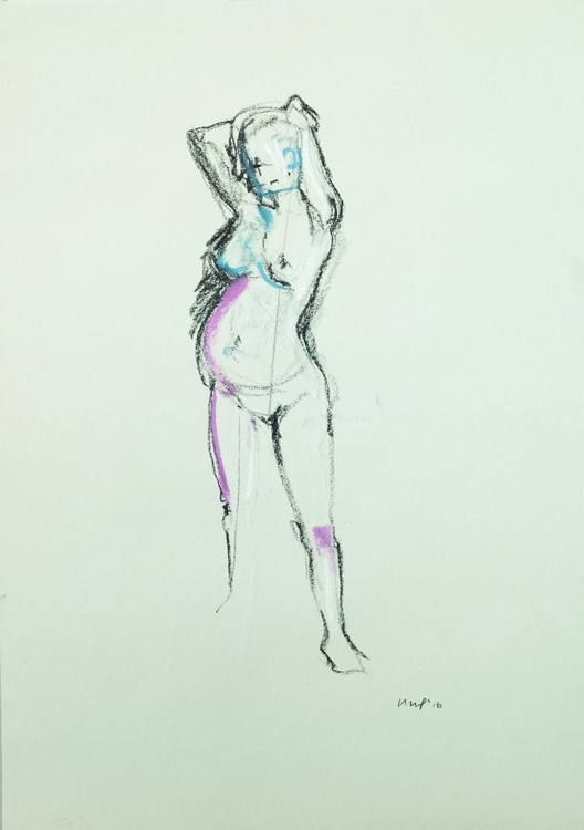 Pregnant Female Nude With purple, A2 charcoal & pastel life drawing #12 - Image 0