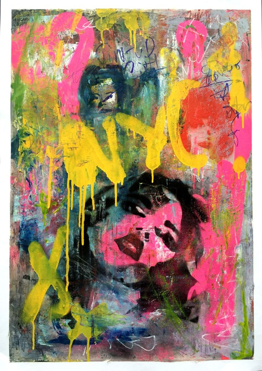 """""""NYC Graffiti"""" - oil paint, spray-paint and collage on paper - Image 0"""
