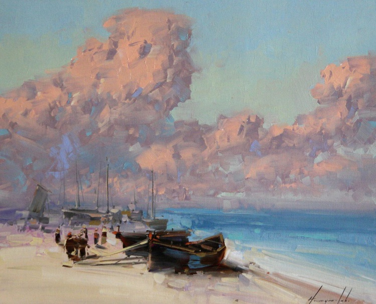 Seashore -Old Boats Original oil painting - Image 0