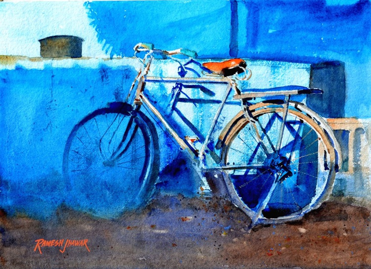Bicycle by the Blue Wall - Image 0
