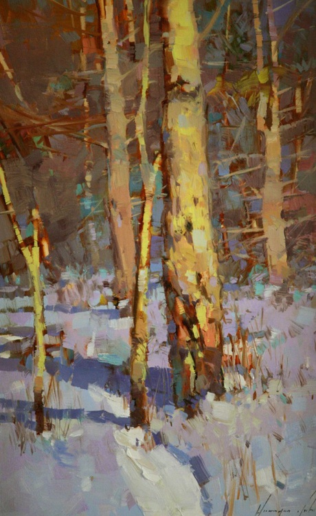 Birches Grove Original framed oil Painting - Image 0