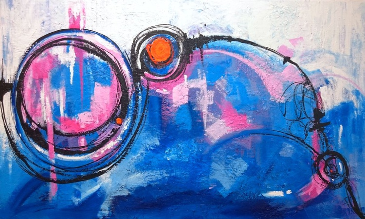 Joyful State - Modern Blue Abstract Painting - Image 0