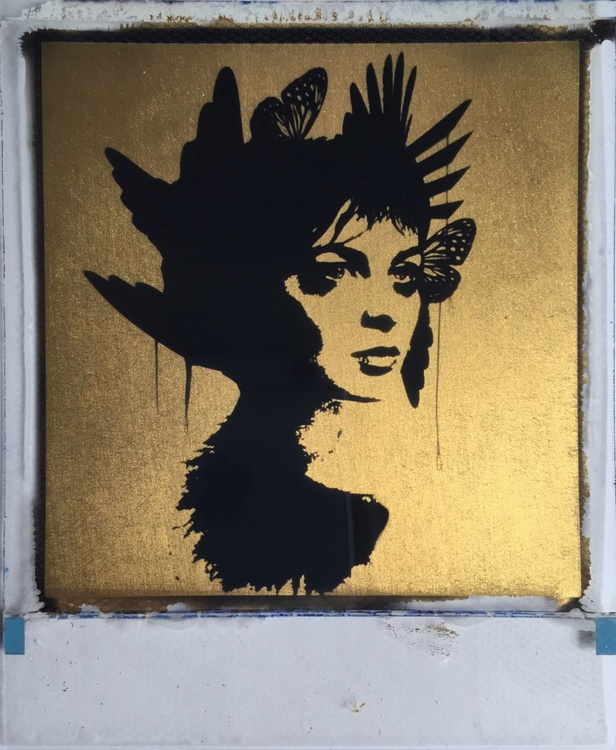 Twisted Love 24ct gold leaf Polaroid collage - Image 0