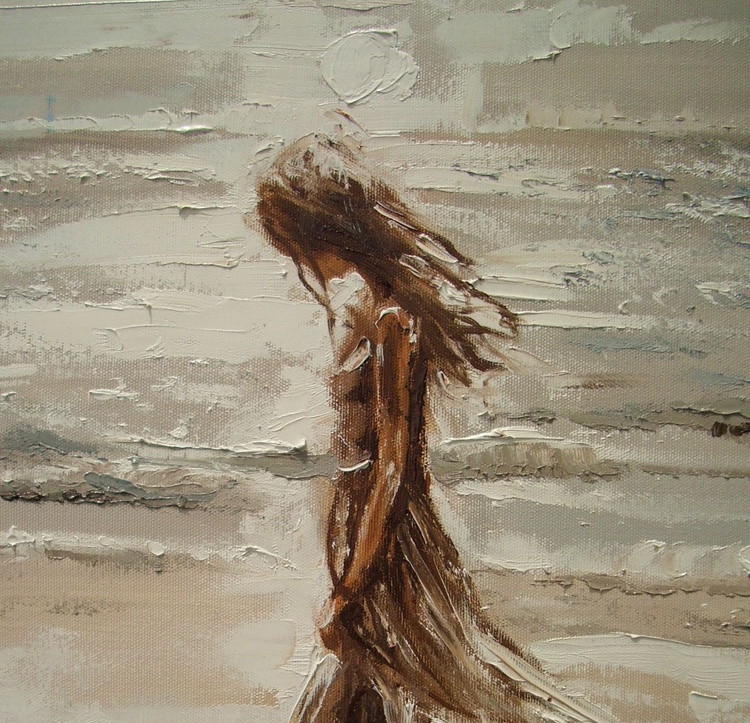 """ WALKING ALONE ... "" SEA original painting palette knife GIFT MODERN URBAN ART OFFICE ART DECOR HOME DECOR GIFT IDEA - Image 0"