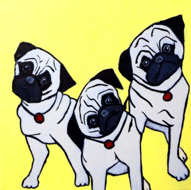 Head Tilt- 3 Pug Puppies - Image 0