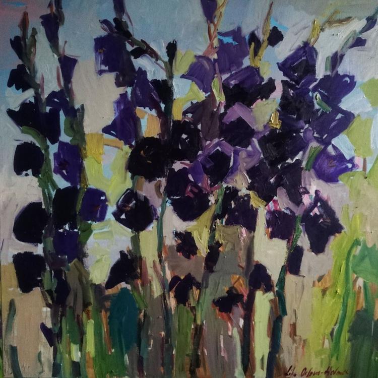 Purple gladioli. 100x100cm - Image 0