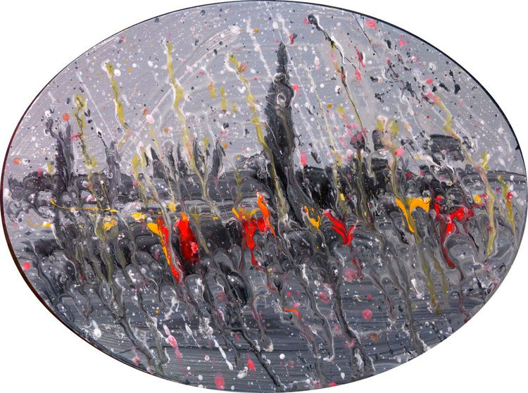 Rainy London. original painting. 40 x 30 cm - Image 0