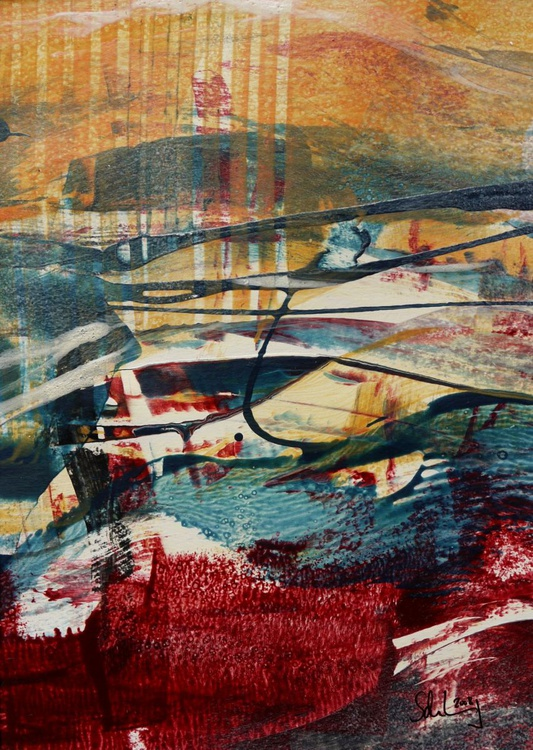 The Flow #3 | PanArt-Painting | orange red blue cream | complete with mat - Image 0