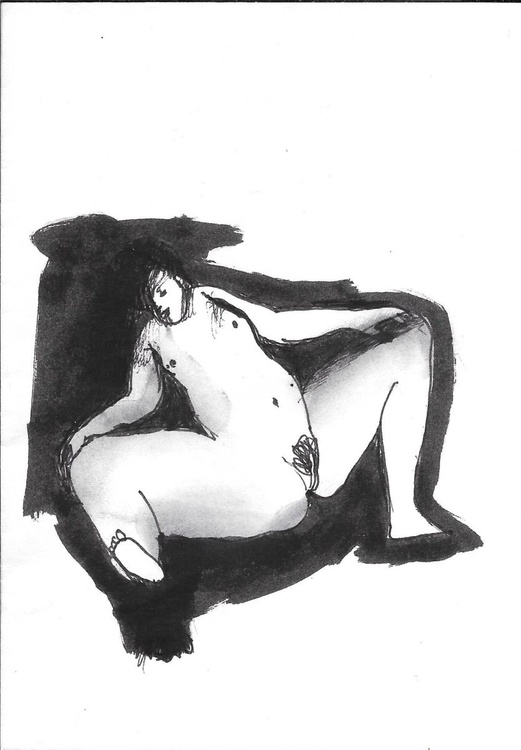 Sexy nude, drawing on an envelope #2,  17x12 cm - Image 0