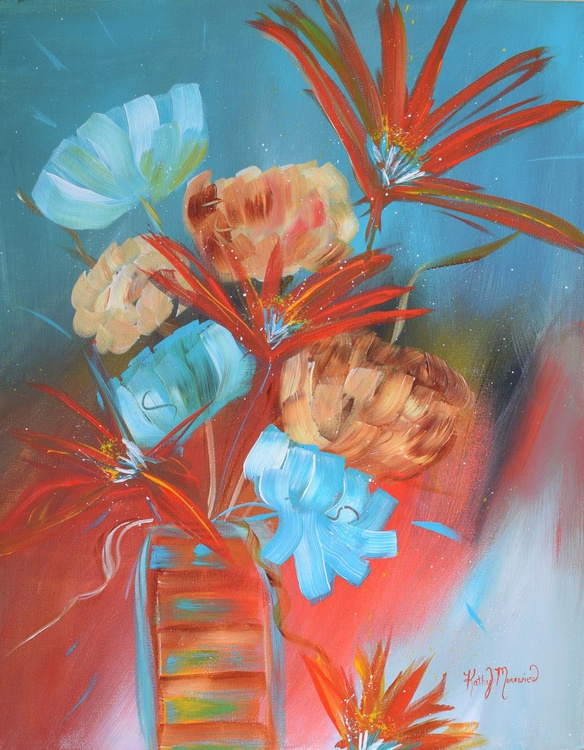 Turquoise and Orange Floral - Image 0