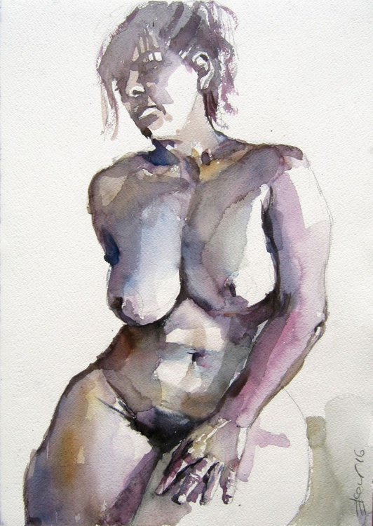 nude sitting pose with resting hand - Image 0