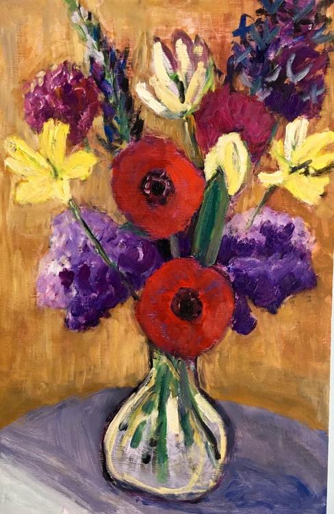 Anemones, Tulips and Lilacs : medium sized impressionist still life original oil painting - Image 0
