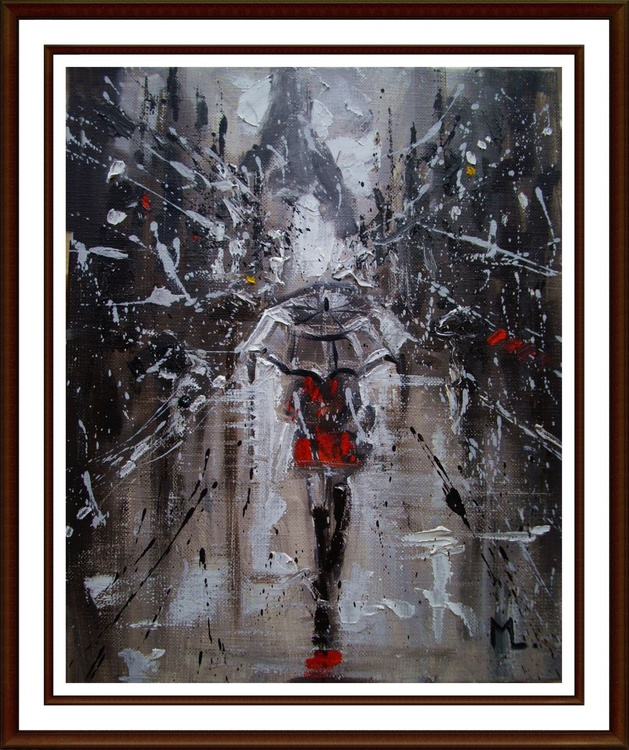 """ ONE WALK IN PARIS ... "" original oil painting WINTER SNOW - Image 0"