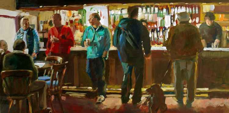 Five men and a dog at the bar
