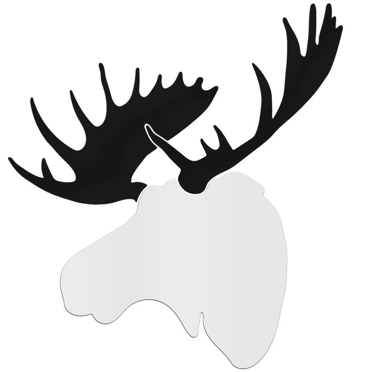 Contemporary Moose | Large White & Black Moose Wall Sculpture Silhouette Cutout - Image 0