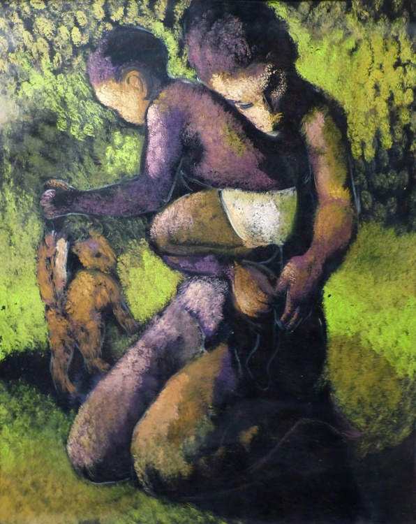 Mother, baby and a little cat, oil on canvas 100x81 cm - Image 0