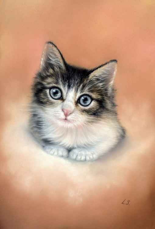 Pastel drawing Kitten -