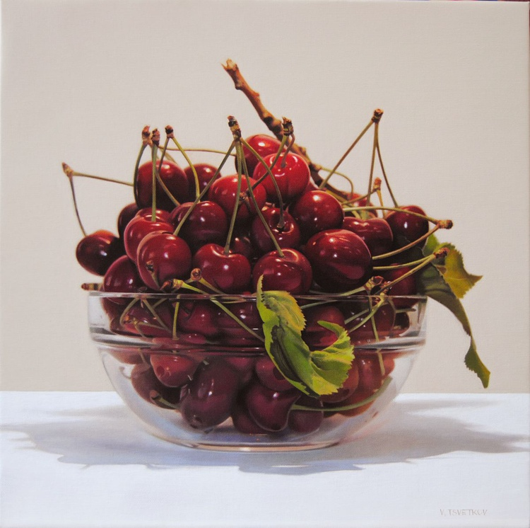 Still life with cherries , Original oil on canvas painting - Image 0