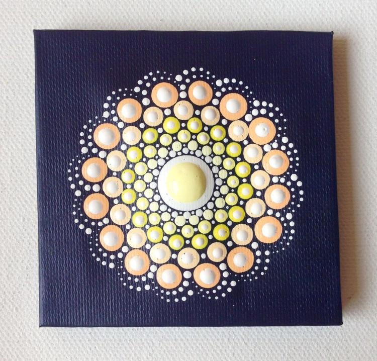 Pastel Mandala Dotart Miniature Painting on Canvas - Image 0