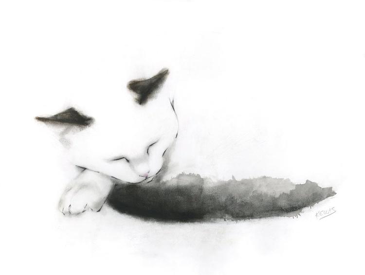 Sleepy cat with inky black tail - Image 0