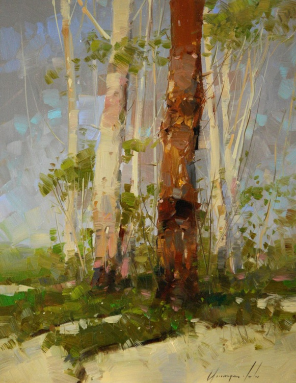 Birches Trees Oil painting Signed One of a Kind - Image 0