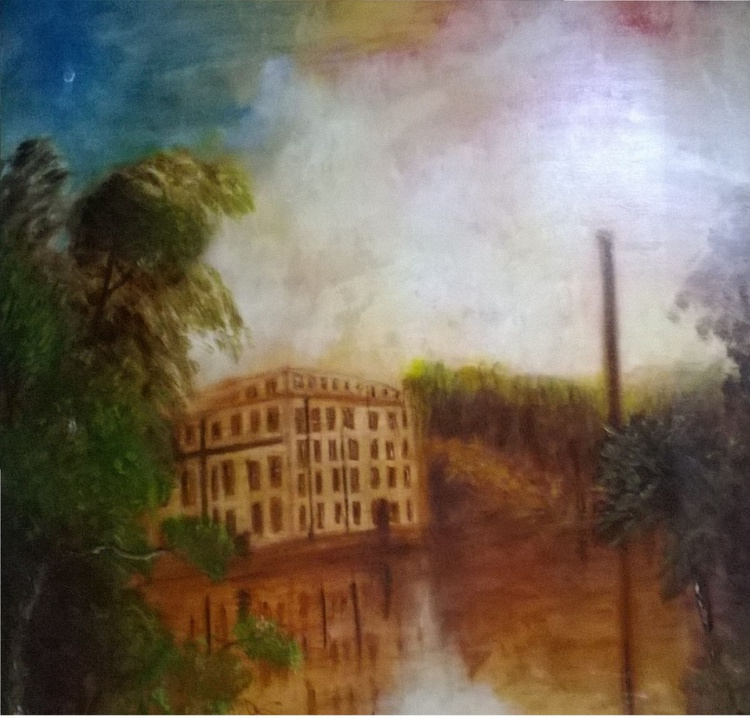 Cotten Mills (Oil on canvas 39x39 inch) - Image 0