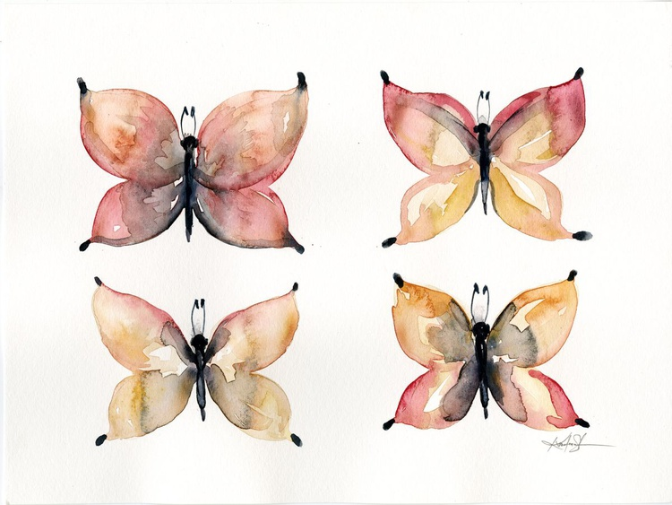 Four Butterflies - Abstract Butterfly Watercolor Painting - Image 0