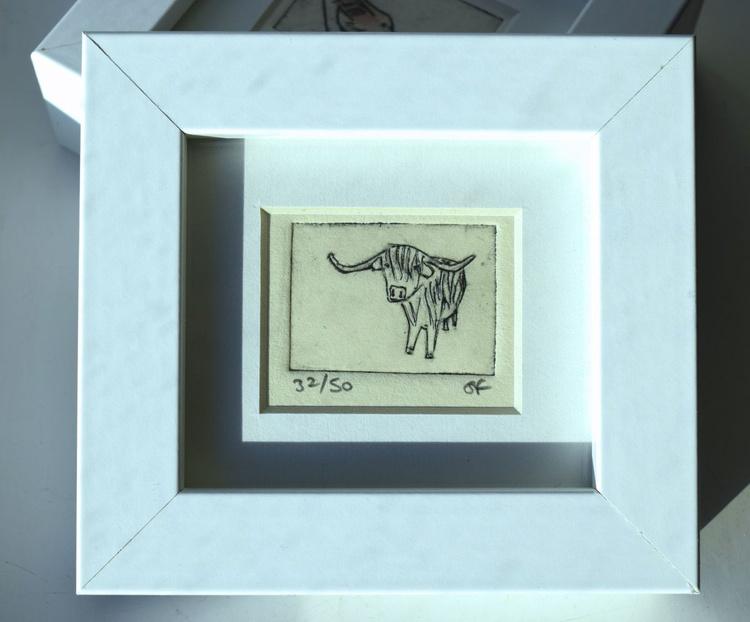 Highland cow - mini framed print - Image 0