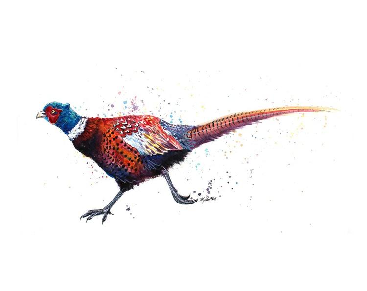 'Legging It' Original Ink and Watercolour Pheasant Painting - Image 0