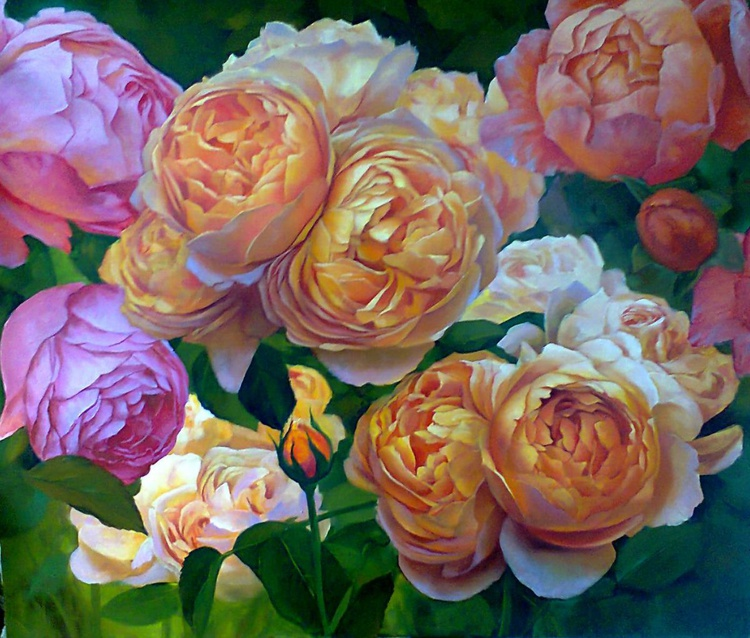 Roses, Oil on canvas, FREE SHIPPING - Image 0
