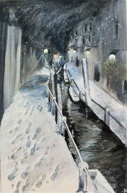 Nuit de neige sur le canal