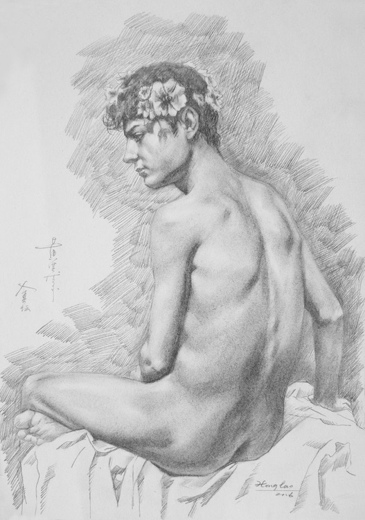 original art drawing pencil male nude boy on paper #16-5-17 - Image 0
