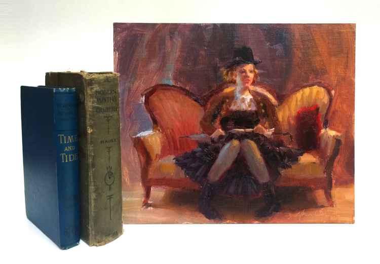 Steampunk Olivia on Antique Couch - Alla Prima Portrait -